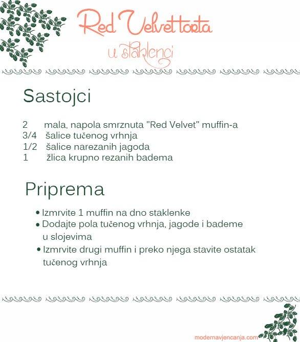 Red Velvet torta u staklenci recept